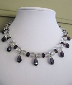 Cut clear crystal beaded necklace with by Beyourbeautifulself, $38.00