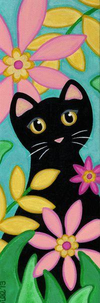 ORIGINAL Canvas CAT Folk Art PAINTING  Black Cat & by thatsmycat