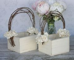 Shabby Chic Outdoor Wedding | Flower Girl Basket Shabby Chic Wedding Decor SET by braggingbags, $79 ...