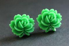 New to StumblingOnSainthood on Etsy: Green Lotus Flower Earrings. Green Lotus Earrings. Bronze Post Earrings. Green Earrings. Stud Earrings. Handmade Jewelry. (8.00 USD)