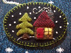 This cute little winter scene would look so cute on your sweater or coat just in time for the Holiday season!  I used wool felt for this piece and a little metal clasp on the back.  This brooch measures about: 3 high and 2 wide oval