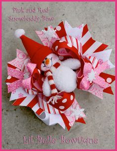 christmas hair bow resins   ... - Boutique Girls Hair Bows and Accessories: Christmas Snowbuddy Bow