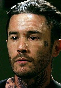 """""""I understand that my physical appearance may be unsettling, but I can assure you my ties to the movement were severed long ago. Banshee Tv Series, Tom Pelphrey, Antony Starr, Hot Guys, Hot Men, Me Tv, Bunker, Gorgeous Men, Black And White Photography"""