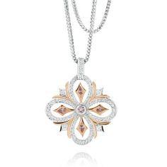 Bloom - 18ct White & Rose Gold Pendant set with White Diamonds and rare Australian Argyle Pink Diamonds
