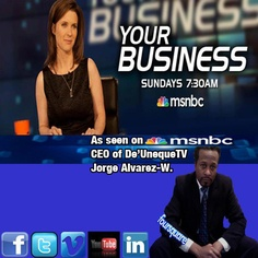 "Our CEO Jorge Alvarez-Washington sat down with New York's MSNBC's Host J.J. Ramberg Host of ""Your Business"" talking about Innovative Technology and Small Business Leaders and Indicators Retail valued at $99.99 Now ONLY $49.99 eCard/QR Codes $69.99 or Jet Setter Combo both eCard/QR Code ONLY $89.99 We Are PayPal Certified! eCommerce Website & Phone App Coming SOON! www.youtube.com/DeUnequeTV ORDER TODAY DONT DELAY!!!"