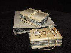 Handmade books with wood covers by  Velma Bolyard