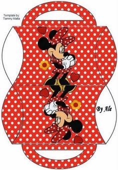 Minnie Red with Polka Dots: Free Printable Pillow Box.