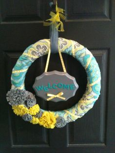 18 Welcome Wreath in Blue Yellow and Gray Summer Spring via Etsy