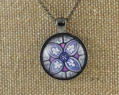 PURPLE STAINED GLASS DESIGN PENDANT NECKLACE FREE SHIPPING #Pendant