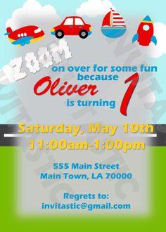 Transportation 1st Birthday Invitation by InvitasticInvites, $10.00