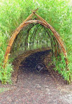 Home Garden Stunning Creative DIY Garden Archway Design Ideas 34 Diy Garden, Dream Garden, Garden Paths, Garden Projects, Garden Art, Bamboo Garden Ideas, Bamboo Ideas, Garden Painting, Bamboo Garden Fences