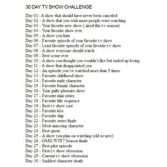 30 days TV show challenge Geek Nerd ❤ liked on Polyvore featuring challenges