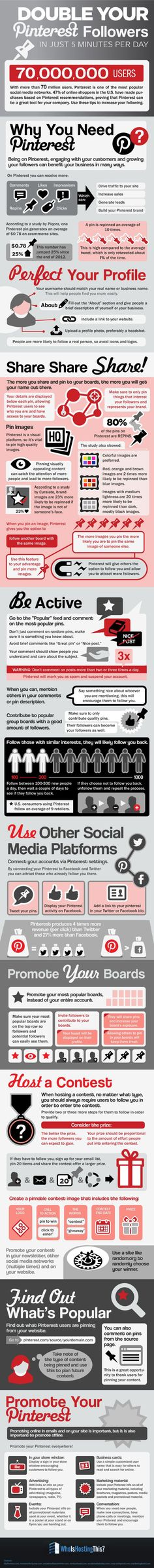 Pinterest is one of today's most important social networks. This #infographic shows you how to increase your #Pinterest followers in just 5 minutes per day.  #socialmedia""