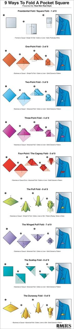9 Ways to Fold a Pocket Square Infographic (via @antoniocenteno)