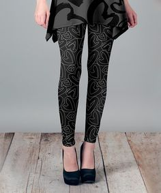 Look what I found on #zulily! Gray & Black Hearts Leggings - Plus Too #zulilyfinds  $12.99