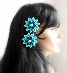 Kanzashi Fabric Flowers. Set of 2 hair clips. Shades of by JuLVa