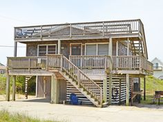 """Enjoy a week at """"OFF DUTY"""" in South Nags Head at this SEMI-OCEANFRONT home with deeded beach access!! The entire family will savor the great ocean views form the crow's nest.This family friendly vacation home is located at MP 17.5, only 45 yards to the beach and no roads to cross with the little ones! Enjoy the comforts of a traditional beach box-style home with newer amenities such as a fully stocked kitchen featuring a breakfast bar, cook top stove, dishwasher and a new refrigerator with"""