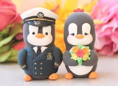 Wedding cake toppers Military Penguin US Navy - love birds dress blue jacket - with hat