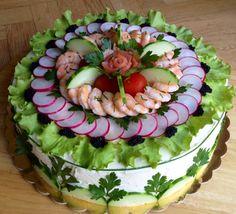 Torta sandwich / Smorgastarta Appetizer Buffet, Brunch Buffet, Appetizer Recipes, Entree Festive, Sandwich Torte, Salad Cake, Best Party Food, Edible Food, Swedish Recipes