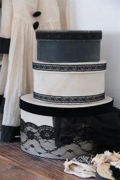Jeanne D´Arc Living,  runde Boxen, Hutschachteln, 3 Größen