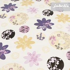 jubelis® Wachstuchdecken Funny mauve mit Blüten und Ranken