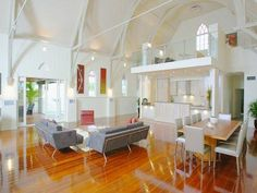 A former church converted into a modern home in Brisbane, Australia.