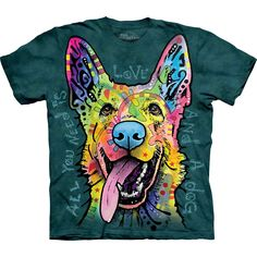 Featuring a love shepherd print on 100-percent preshrunk cotton, this far-out green shirt will flaunt a perfect fit while showing off your colorful personality. The crew neckline is a classic touch to