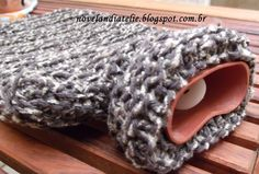 Capa em tricô para bolsa de água quente