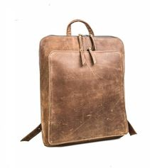 845e504dfd Full Grain Leather Backpack, Distressed Leather Knapsack, Leather School  Bag, Brown Leather Backpack