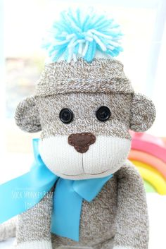 Sock Monkey Doll, Chimp, Stuffed Plush **Made to order with a creation to shipment period of 3-5 business days. Due to the monkeys eyes, this toy is not suitable for babies or smaller children. Materi