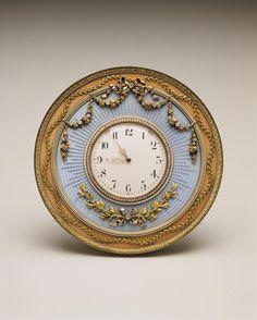 Table Clock, Fabergé (firm); Perkhin, Mikhail (workmaster) RUSSIA: Saint Petersburg 1898-1903 Silver, enamel, ivory, clockworks, gold, pearls, diamonds
