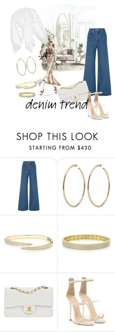 """""""InStyle"""" by xpashion ❤ liked on Polyvore featuring Solace, Anne Sisteron, Chanel, Giuseppe Zanotti, Johanna Ortiz, Bibhu Mohapatra, denimtrend and widelegjeans"""