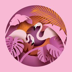 Find Two Flamingos Tropical Leaves Paper Cut stock images in HD and millions of other royalty-free stock photos, illustrations and vectors in the Shutterstock collection. 3d Paper Art, Paper Artwork, Cut Out Art, Paper Cut Design, Paper Quilling, Quilling Comb, Neli Quilling, Free Vector Art, Graphic