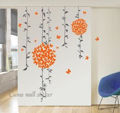 Vinyl wall decals tree wall sticker butterfly wall decal by cuma, via Etsy.