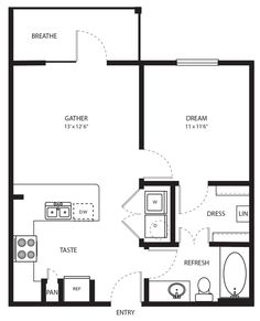 One Bedroom / One Bath 576 Sq. I love how the rooms are labeled! One Bedroom House Plans, Small House Floor Plans, Cottage Floor Plans, Cottage Plan, Cottage House, Up House, Tiny House Living, 400 Sq Ft House, Small Room Design