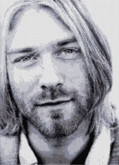 Kurt Cobain portrait Cross Stitch pattern Nirvana PDF - EASY chart with one color per aheet And traditional chart! Two charts in one! by HeritageChart on Etsy https://www.etsy.com/ie/listing/293271987/kurt-cobain-portrait-cross-stitch