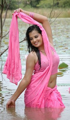 Tamil Telugu Malayalam South Indian Films Actress Roopa Kaur wet in Sari and Blouse Latest Pics