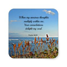 Psalm 94:19 When my anxious thoughts... Square Stickers