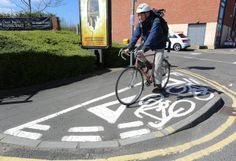 The incredibly short cycle lane in Chesterfield (SWNS)