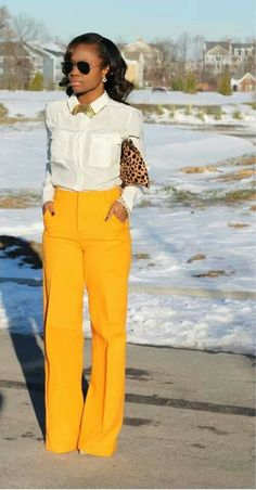 Black Girls Killing It: such a sexy outfit, yellow pants, white shirt + leopard print clutch Work Fashion, Fashion Outfits, Womens Fashion, Dress Fashion, Fashion Spree, Fashion Ideas, Fashion Quotes, Fashion Black, Hijab Fashion