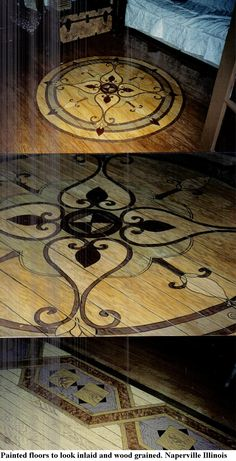 Painted floor to look like inlaid wood designs.  Wood graining and design by Louise Moorman