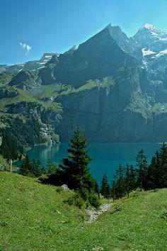 UNESCO world heritage Lake Oeschinen, Kandersteg, Bern, Switzerland