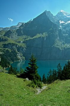 UNESCO world heritage Lake Oeschinen, Kandersteg, Bern, Switzerland