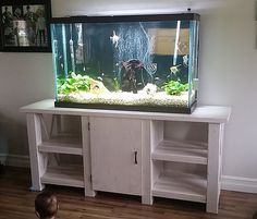 distressed wood stand, fish tank stand, DIY wood stand, white wash.