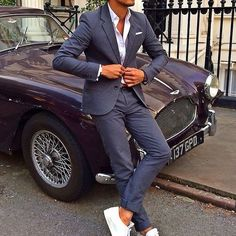 Blue Suit & white tennis shoes ! #fashion #men