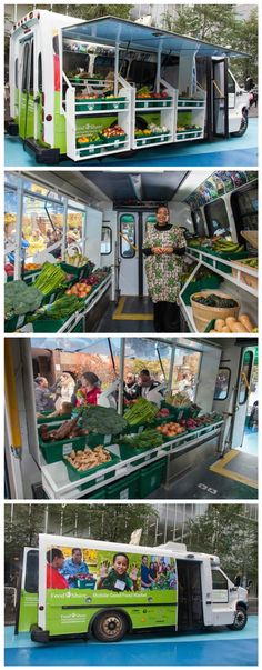 Bus Converted into Mobile Food Market Brings Fresh Produce To Low-Income Neighbourhoods /// I truly love this, much like I love urban community gardens.