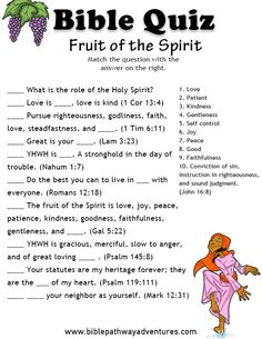FREE Bible Quizzes for Kids Printable bible quiz - Fruit of the Spirit.Printable bible quiz - Fruit of the Spirit. Bible Activities For Kids, Bible Study For Kids, Sunday School Activities, Bible Lessons For Kids, Kids Bible, Church Activities, Bible Games For Youth, Bible Object Lessons, Group Activities