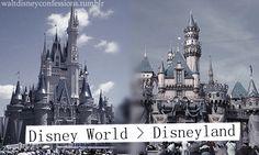 'Disney World > Disneyland'