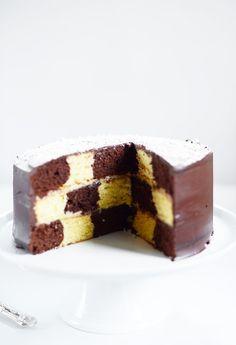 """Lemon & Vanilla: Chess Cake / Bolo """"Tabuleiro de Xadrez""""."""