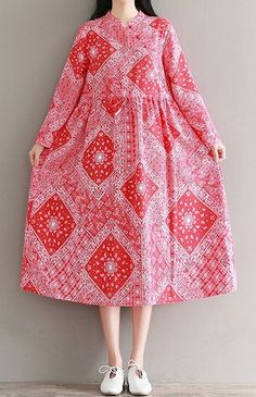 Women loose fit over plus size retro ethnic flower dress maxi tunic pregnant #Unbranded #dress #Casual